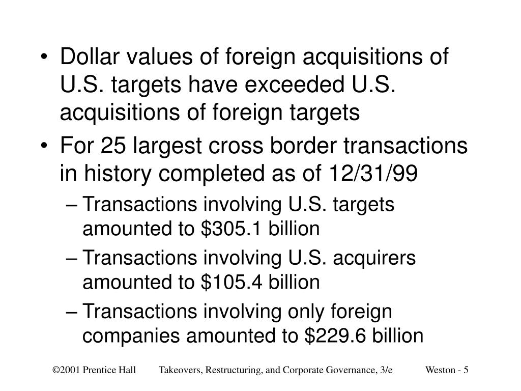 Dollar values of foreign acquisitions of U.S. targets have exceeded U.S. acquisitions of foreign targets