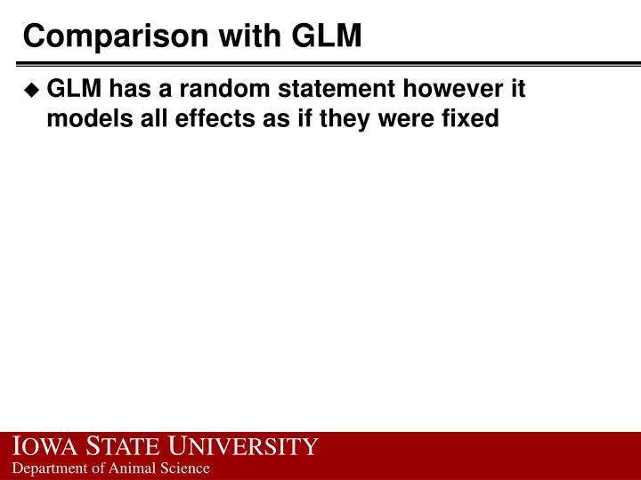 Comparison with GLM