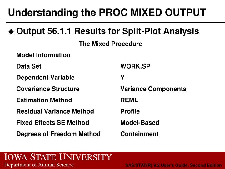 Understanding the PROC MIXED OUTPUT
