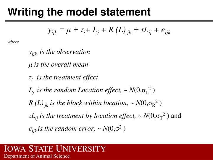 Writing the model statement