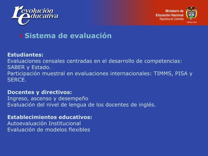 Sistema de evaluación