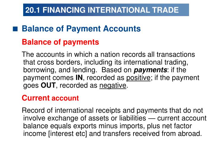 20 1 financing international trade