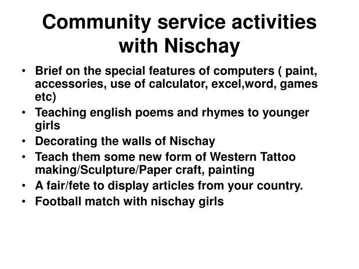 Community service activities with Nischay