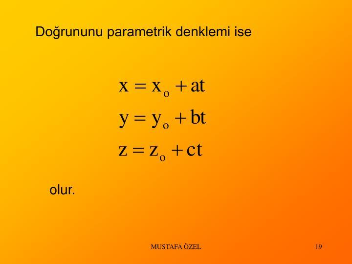 Doğrununu parametrik denklemi ise