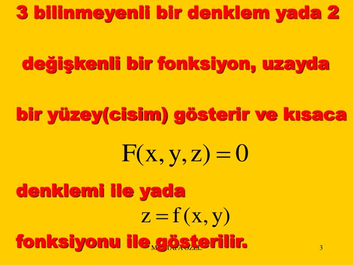 3 bilinmeyenli bir denklem yada 2