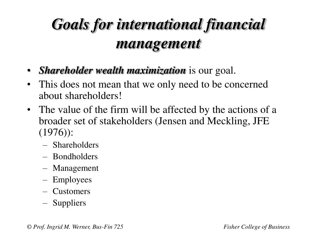 Goals for international financial management