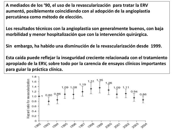 A mediados de los '90, el uso de la revascularización  para tratar la ERV aumentó, posiblemente coincidiendo con al adopción de la angioplastia percutánea como método de elección.