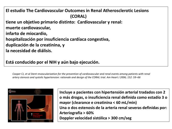 El estudio The Cardiovascular Outcomes in Renal Atherosclerotic Lesions