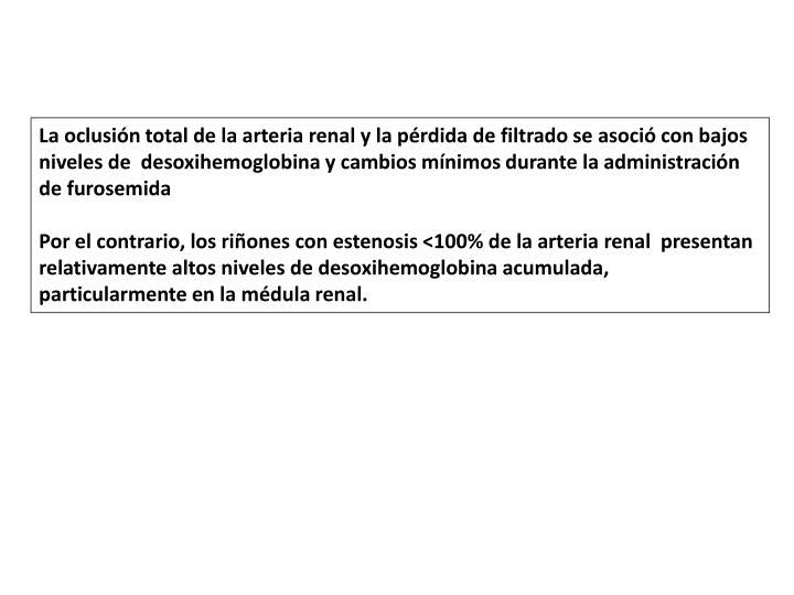 La oclusión total de la arteria renal y la pérdida de filtrado se asoció con bajos niveles de
