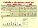 evoluci n de la poblacion por municipios censos 1950 1961 1971 19901