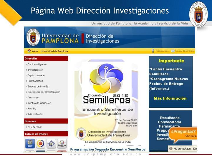Página Web Dirección Investigaciones