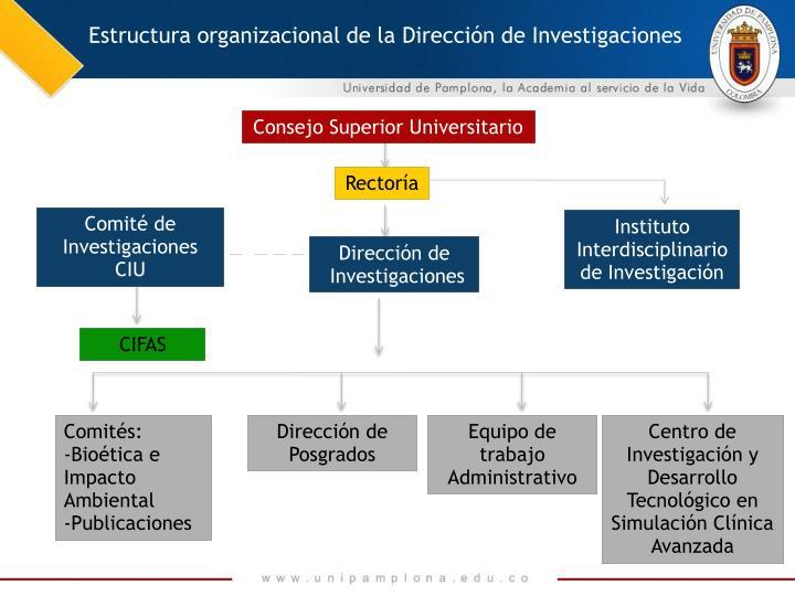 Estructura organizacional de la Dirección de Investigaciones