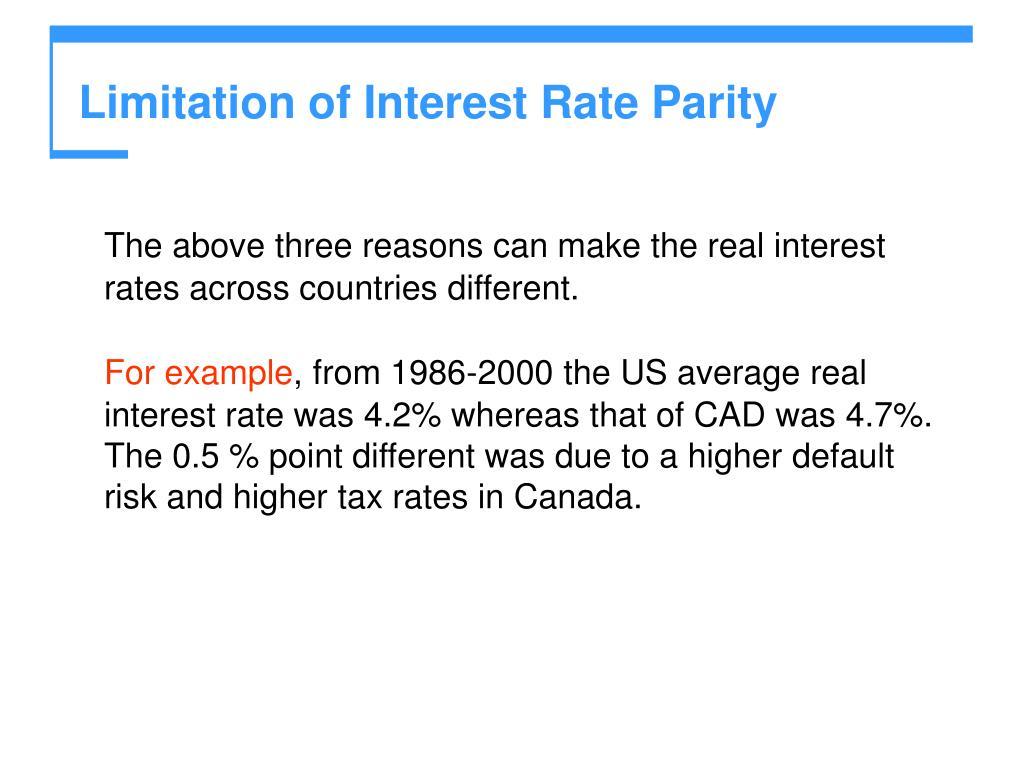 Limitation of Interest Rate Parity