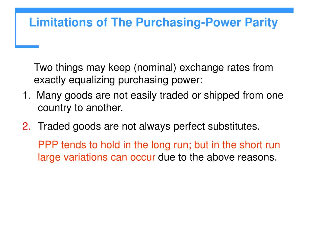 Limitations of The Purchasing-Power Parity
