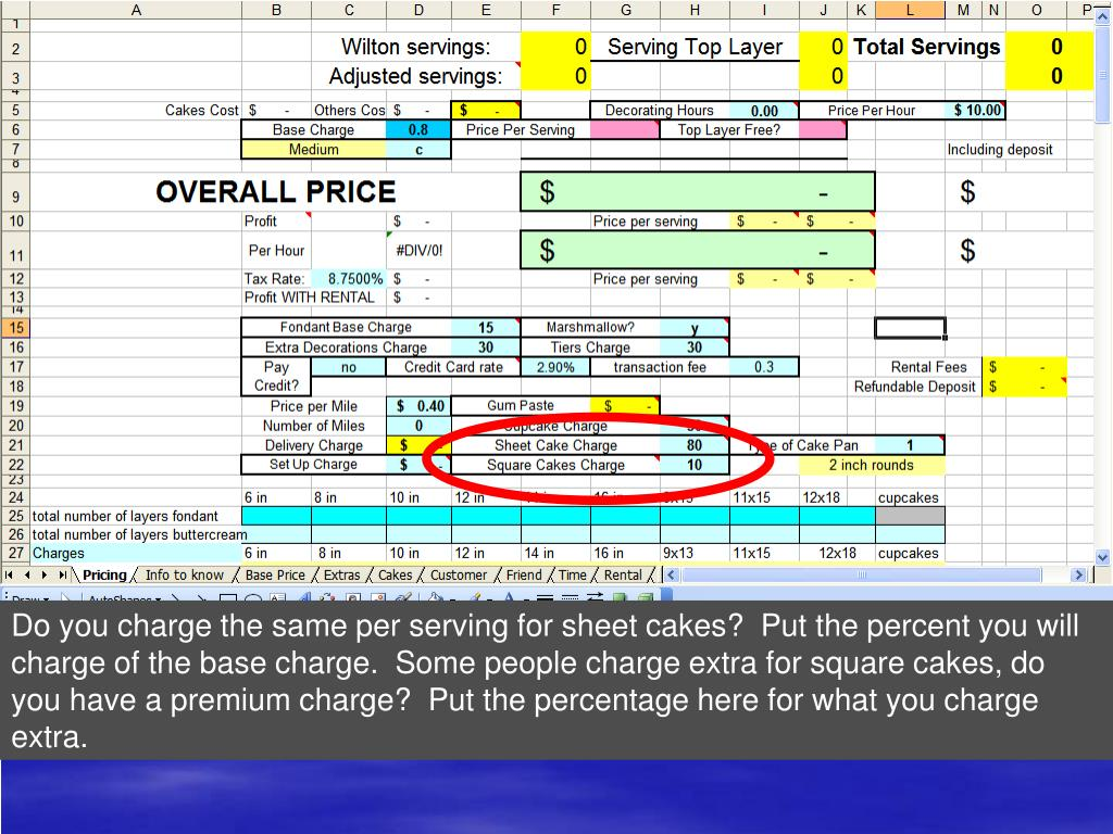 Do you charge the same per serving for sheet cakes?  Put the percent you will charge of the base charge.  Some people charge extra for square cakes, do you have a premium charge?  Put the percentage here for what you charge extra.