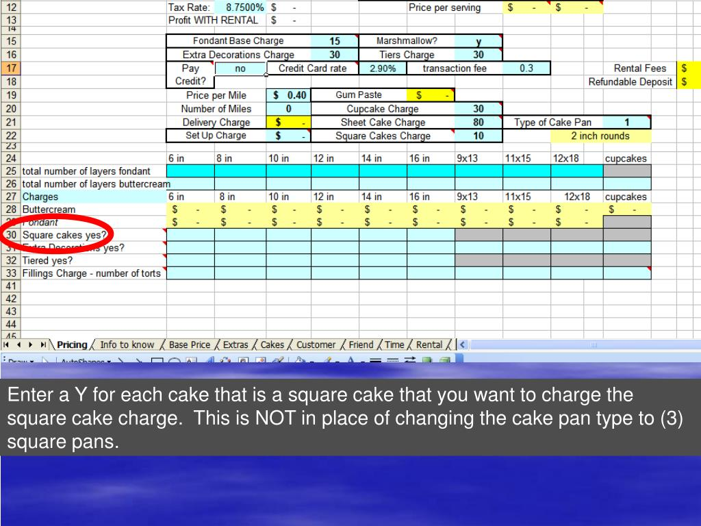Enter a Y for each cake that is a square cake that you want to charge the square cake charge.  This is NOT in place of changing the cake pan type to (3) square pans.