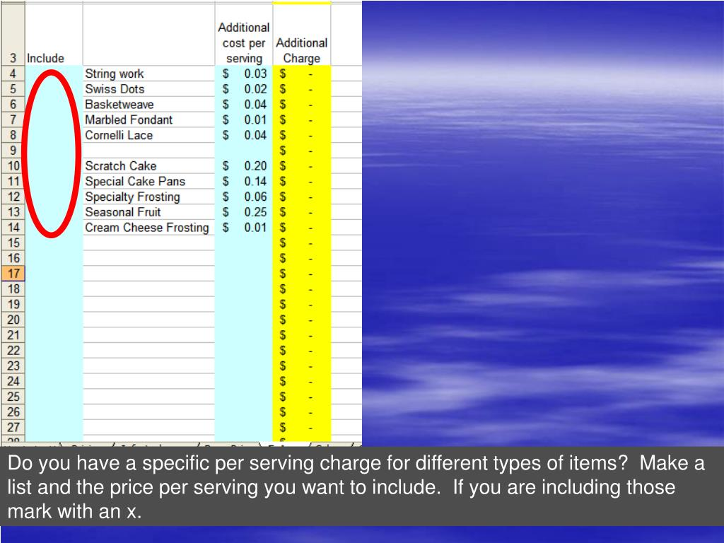 Do you have a specific per serving charge for different types of items?  Make a list and the price per serving you want to include.  If you are including those mark with an x.