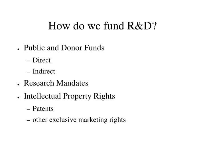 How do we fund r d