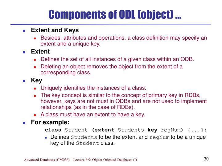 Components of ODL (object) …