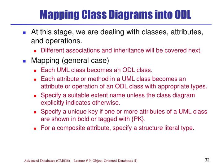 Mapping Class Diagrams into ODL