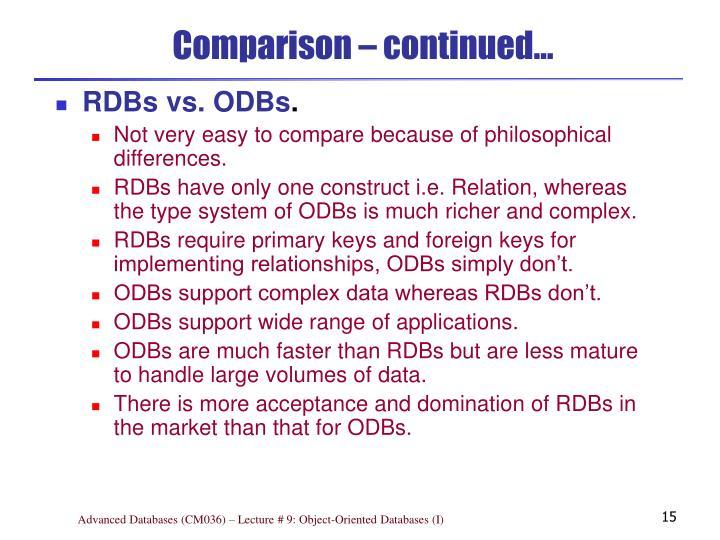 Comparison – continued…