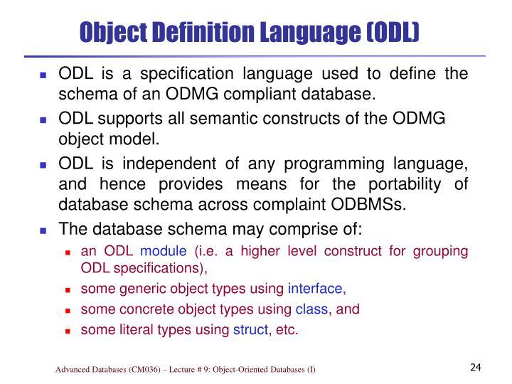 Object Definition Language (ODL)