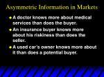 asymmetric information in markets