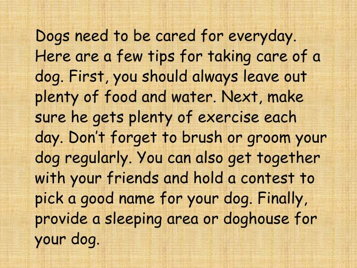 Dogs need to be cared for everyday. Here are a few tips for taking care of a dog. First, you shou...