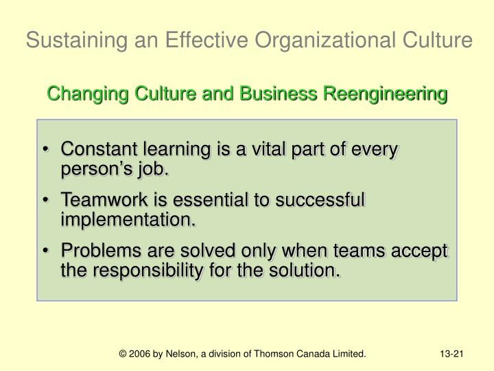 Sustaining an Effective Organizational Culture
