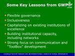 some key lessons from gwp