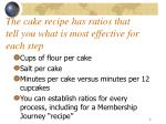 the cake recipe has ratios that tell you what is most effective for each step