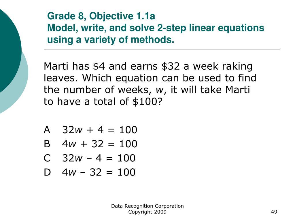 Grade 8, Objective 1.1a