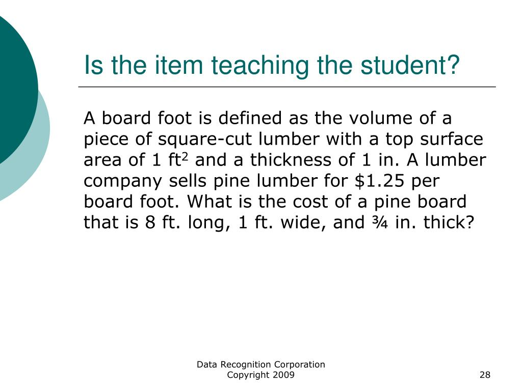 Is the item teaching the student?