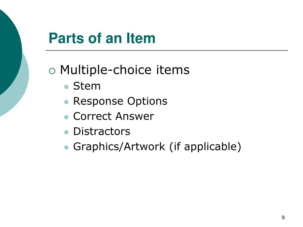 Parts of an Item