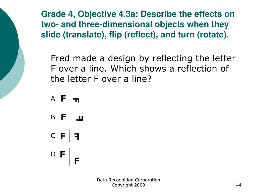 Grade 4, Objective 4.3a: Describe the effects on two- and three-dimensional objects when they slide (translate), flip (reflect), and turn (rotate).