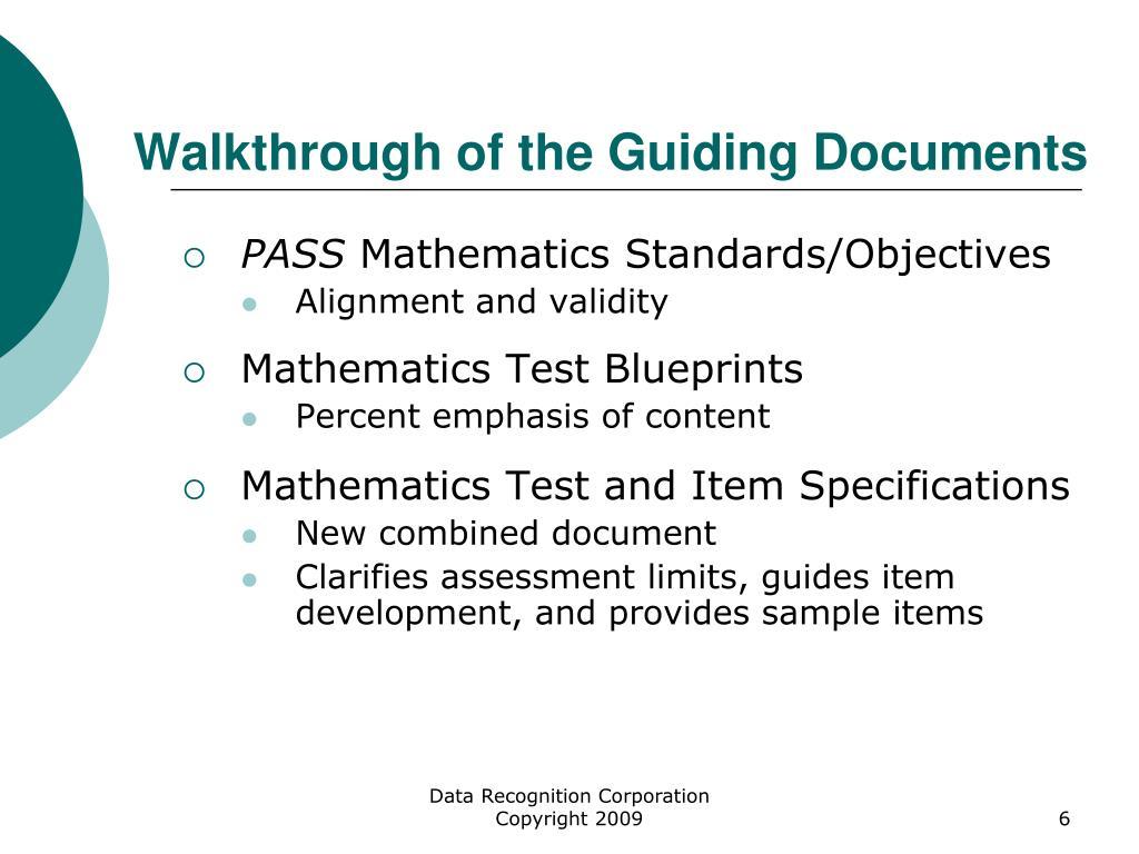 Walkthrough of the Guiding Documents