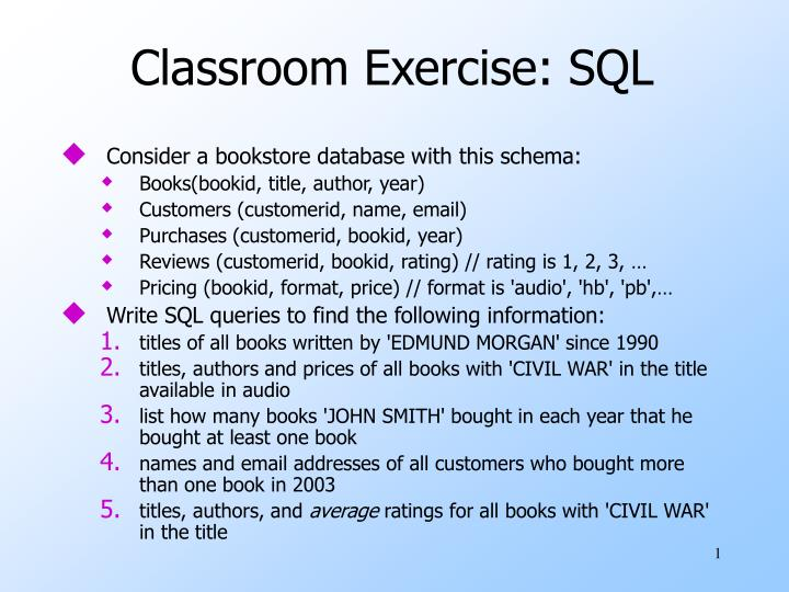 classroom exercise sql n.