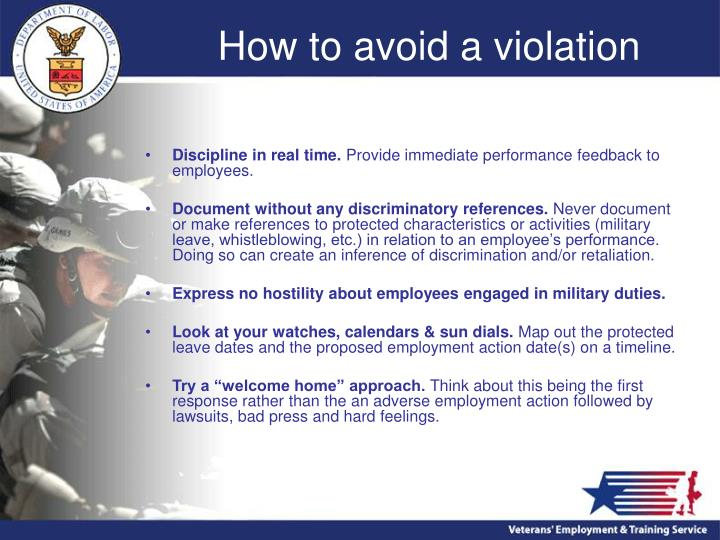How to avoid a violation