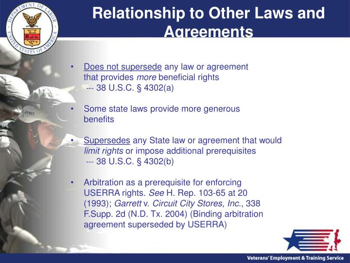 Relationship to Other Laws and Agreements
