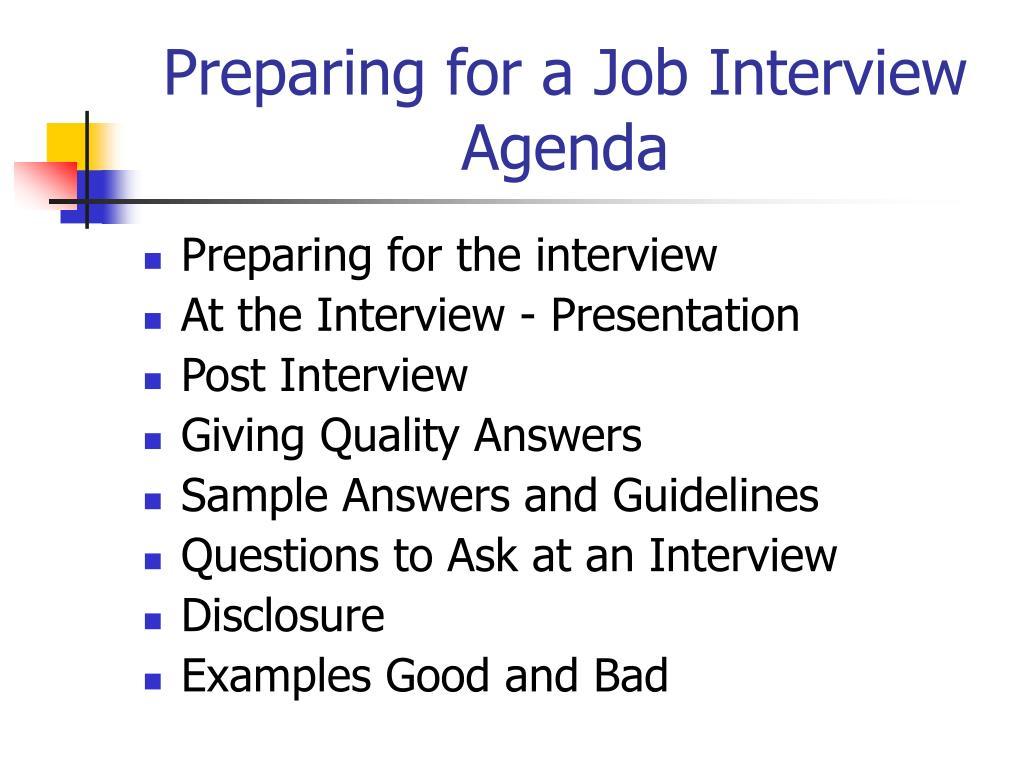 Preparing for a Job Interview Agenda