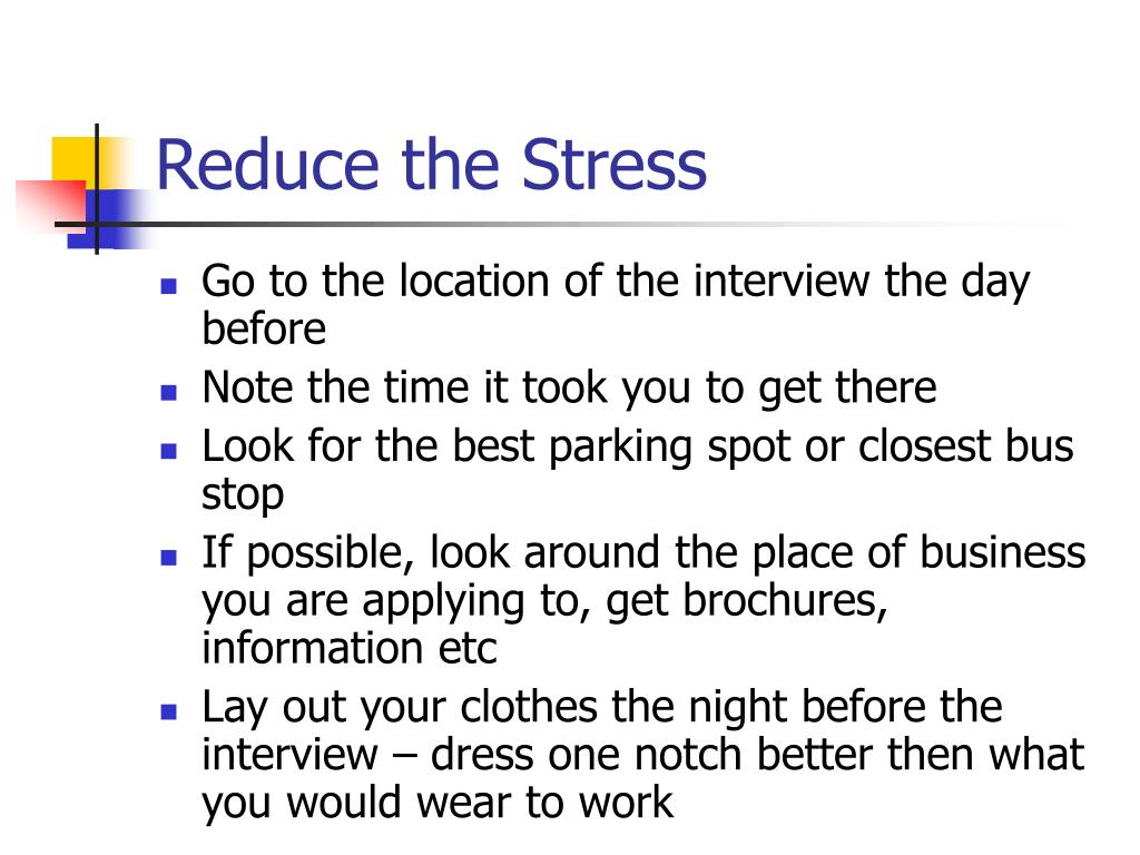 Reduce the Stress