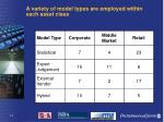 a variety of model types are employed within each asset class