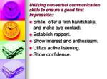 utilizing non verbal communication skills to ensure a good first impression