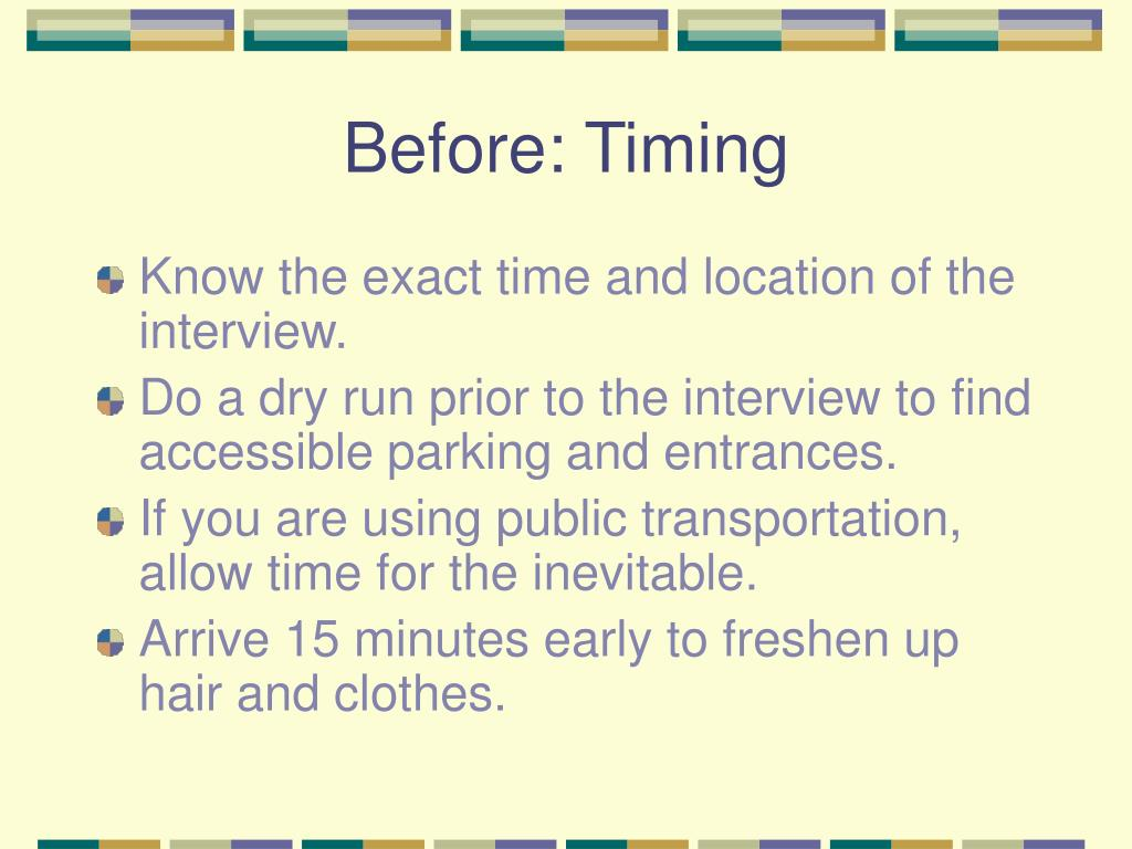 Before: Timing