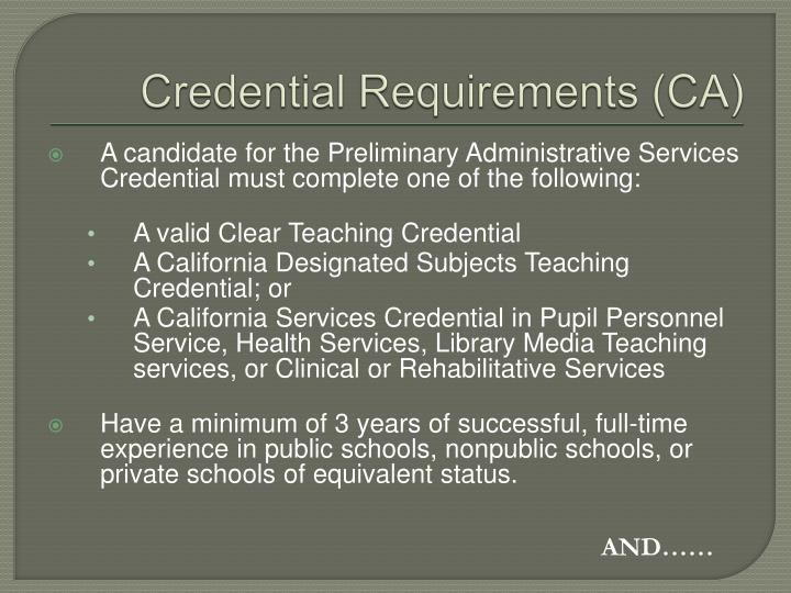 Credential Requirements (CA)