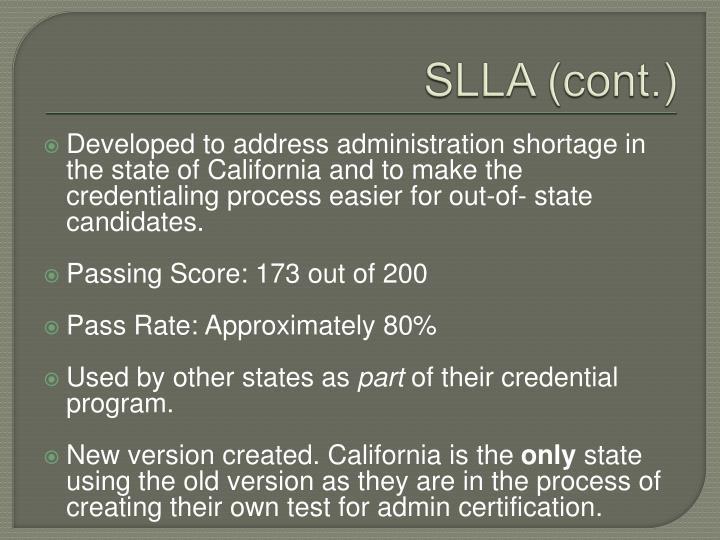 SLLA (cont.)