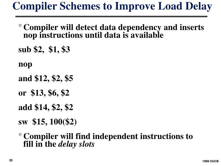 Compiler Schemes to Improve Load Delay