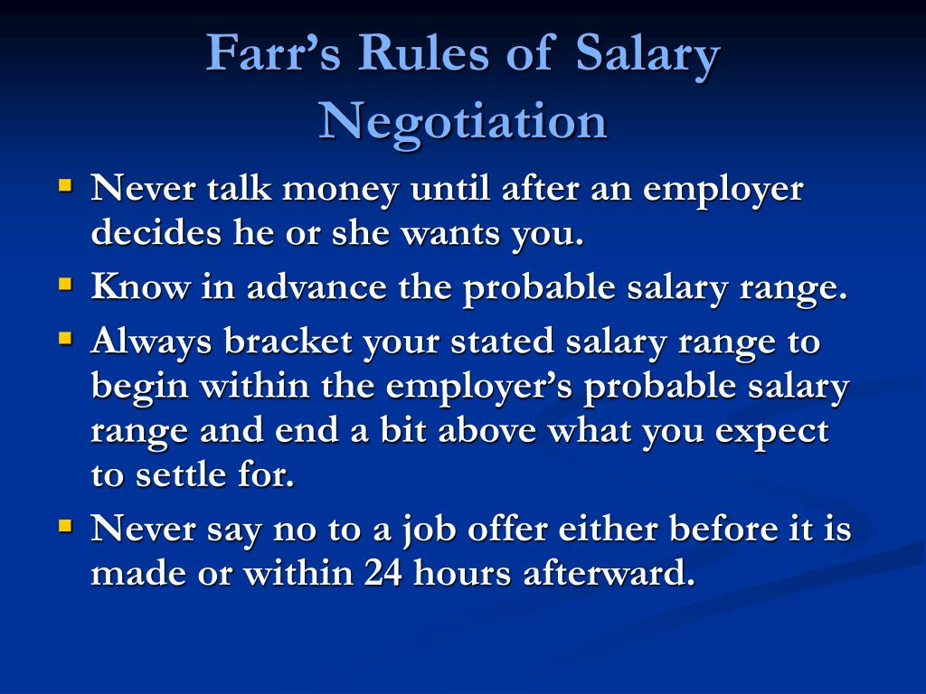 Farr's Rules of Salary Negotiation