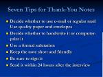 seven tips for thank you notes