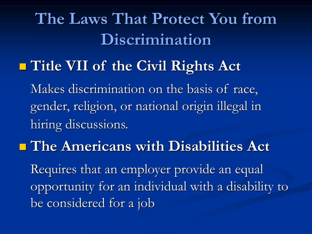 The Laws That Protect You from Discrimination